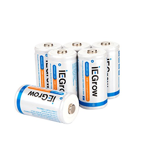 iEGrow C Batteries 6000mAh Ni-MH Rechargeable(6-Pack)