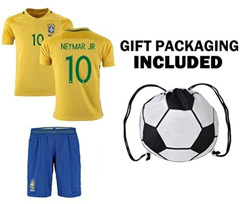 Fan Kitbag Neymar Jr #10 Brazil Youth Home / Away Soccer Jersey & Shorts Kids Premium Gift Kitbag ✮ BONUS GIFT PACKAGING Soccer Backpack (Youth Small 6-8 Years, Home Short - Shirts Football Brazil