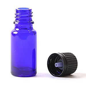 10ml Glass Boston Round Bottle (With Black Tamper Evident Cap & Dropper) Cobalt Blue