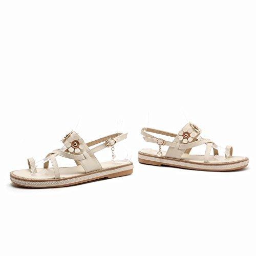 Carolbar Women's Fashion Sweet Applique Flat Slingback Buckle Sandals Beige 2s5rxRlw91