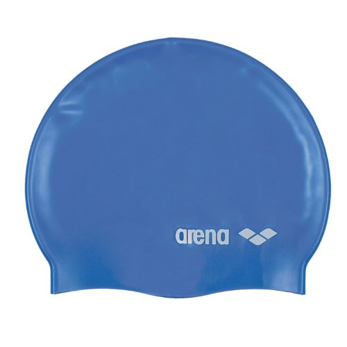 Arena Jr. Classic Logo Silicone Swim Cap (Royal/White, One (Wrinkle Free Silicone Cap)