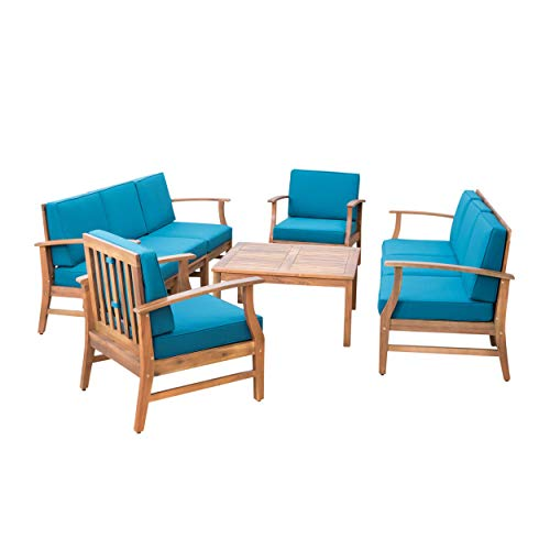 Lorelei Outdoor 8 Seater Teak Finished Acacia Wood Double Sofa and Club Chair Set with Blue Water Resistant Cushions