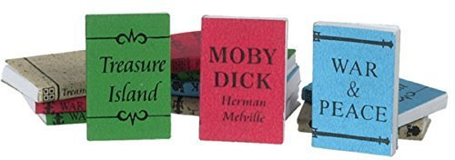 Dollhouse Book Scale Miniature (Dollhouse Miniature 1:12 Scale 12 Pc Large Bound Books with Printed Covers Set #Im65774)