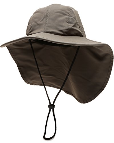 MIRMARU Outdoor Sun Protection Hunting Hiking Fishing Cap Wide Brim hat with Neck Flap -