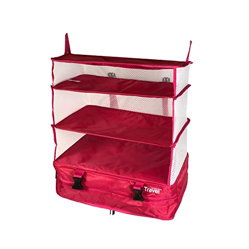 Stow-N-Go Portable Luggage System Suitcase Organizer - Large, PINK, Packable Hanging Travel Shelves & Packing Cube Organizer (Hampers Laundry Online)