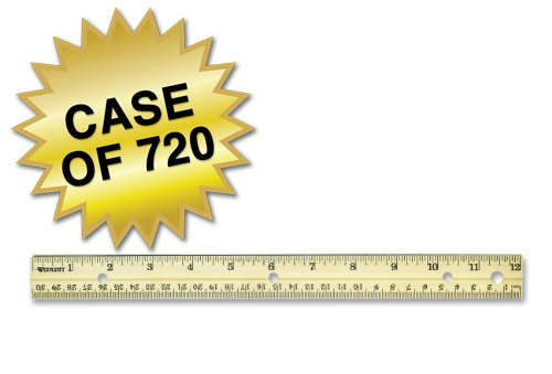 Westcott Hole Punched Wood Ruler English and Metric With Metal Edge, 12'', Case of 720 by Westcott