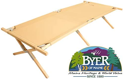 BYER OF MAINE, Maine Heritage Cot, Extra Large, Holds 375lbs, North American Hardwood Frame, 84 L x 31 W x 18 H, Wood Cot, Army Cot, Wooden Cot, Camping Cot, Sleeping Cot, Folding Cot, Single