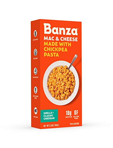 (Banza Chickpea Pasta - High Protein Gluten Free Healthy Pasta - Mac & Cheese, Shells with Classic Cheddar (Pack of 6))