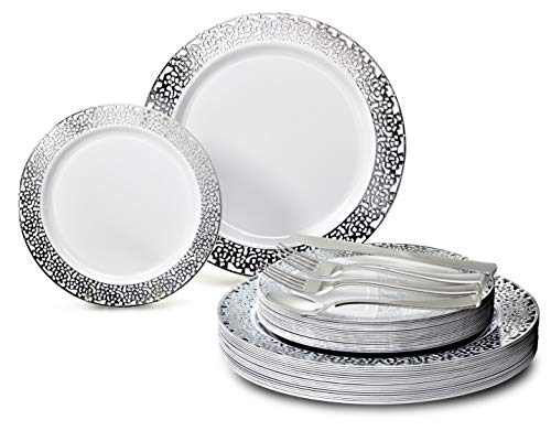 OCCASIONS 360 PCS / 60 GUEST Wedding Disposable Plastic Plate and Silverware Combo Set (Florence White/Silver Plates with Silver Silverware) …