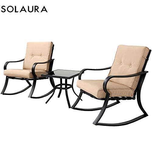 SOLAURA Outdoor Patio Rocking Chairs Bistro Set 3-Piece Black Steel Furniture with Brown Thickened Cushion Glass-Top Coffee Table