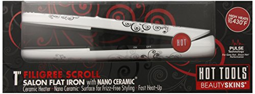 Hot Tools HT5106S Filigree Scroll Salon Fat Iron, White and (Scroll Tool)