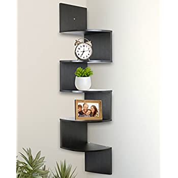 Amazon.com: Greenco 5 Tier Wall Mount Corner Shelves Espresso ...