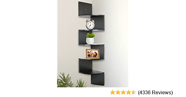 Greenco 5 Tier Corner shelves espresso