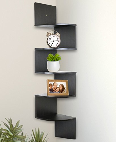 Greenco 5 Tier Wall Mount Corner Shelves Espresso (Distressed Black Bath)