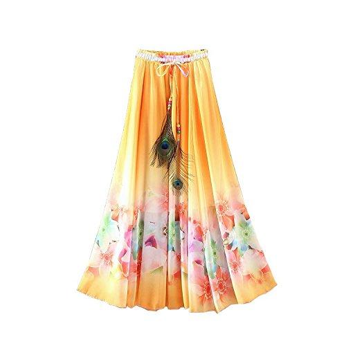 Kaxuyiiy Mujer Bohemio loto flor pintura pluma de pavo real playa Fiesta partido maxi Largo Falda plisada Long Skirt Naranja