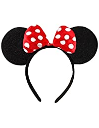 Black & Red or Pink Bow & White Polka Dot Minnie MoUSe Disney Fancy Dress Ears Head Band
