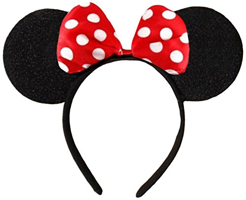 DangerousFX Black with Red Bow and White Polka Dot Minnie Mouse Disney Fancy Dress Ears Head Band]()