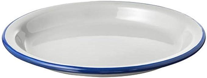 IKEA Egendom - Placa esmaltada, color blanco y azul, gris claro/azul oscuro
