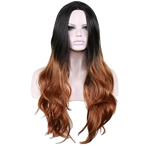 Long Black Brown Mixed Color Wavy Wigs Costome Synthetic Hair With Free Wig (Halloween Costumes For Brown Haired Woman)