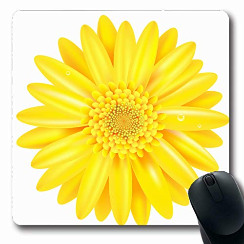 LifeCO Computer Mousepad Daisy Green Gerbera Yellow Gerber Gradient Mesh Holidays Closeup Flower Nature Orange Head Chamomile Oblong Shape 7.9 x 9.5 Inches Oblong Gaming Non-Slip Rubber Mouse Pad Mat