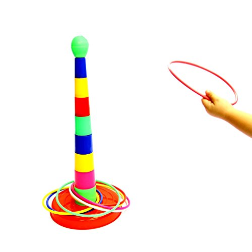 "Kids Gift | Deluxe 18"" Multicolor Plastic Ring Toss Novelty Game -- Improves Hand-Eye Coordination Portable Ring Toss Party Favor Floor Games for Kids Ages 3 and up - Indoors 