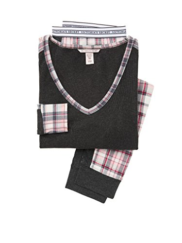 Victoria's Secret Thermal PJ Set 2017 Pajamas XS,S,M,LG,XL (Dark Gray Pink Plaid, Small) (Victoria Secret Set)