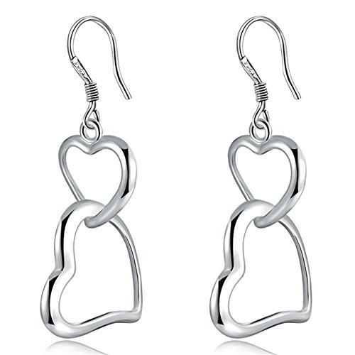 (Double Heart Hoop Dangle Earrings Hollow Silver Plated Love Heart Shape Drop Earrings Hook for Women Fashion Jewelry)