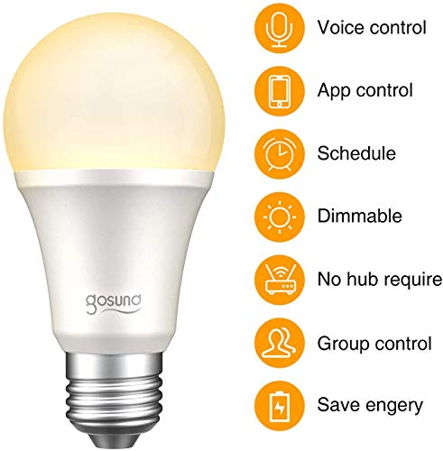 gosund Smart Light Bulb Compatible with Alexa, Google Home, WiFi LED Bulb, E26 Dimmable Bulb A19 No Hub Required 2700K…