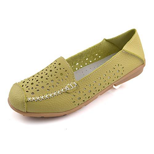 FLYRCX Zapatos de cuña de Cuero de la Moda Informal de Fondo Suave Zapatos cómodos Solos Zapatos de Trabajo de Oficina de señoras Zapatos Planos C