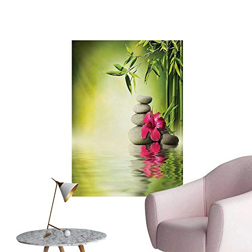 Anzhutwelve Spa Wall Paper Stones and Bamboo Leaves on The Water Pool Meditation Freshness Relaxing ThemeApple Green Magenta W20 xL28 Wall Poster -