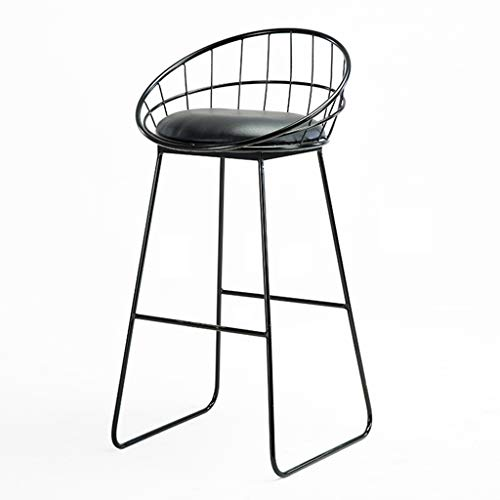 29'' Breakfast Kitchen Counter Bar Stools, Metal Kitchen Pub Bar Stool, Sponge Seat High Stools with Footrest & Back Stool Max. Load 440lb