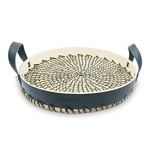 (Ann Lee Design Round Serving Rattan Bamboo Trays (Black))