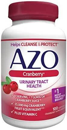 AZO Cranberry Urinary Tract Health Dietary Supplement | 1 Serving = 1 Glass of Cranberry Juice| Helps cleanse and protect the urinary tract | Fast Acting | 100 Softgels