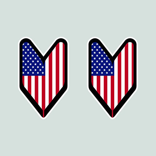 Two Pack American USDM Driver Badge Sticker FA Graphix Die Cut Decal wakaba leaf soshinoya - Driver Badge American