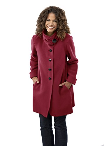 Janska Audrey - Women's Warm Fleece Button-Up Swing Coat with High Collar and Large Pockets (X-Large, Red)