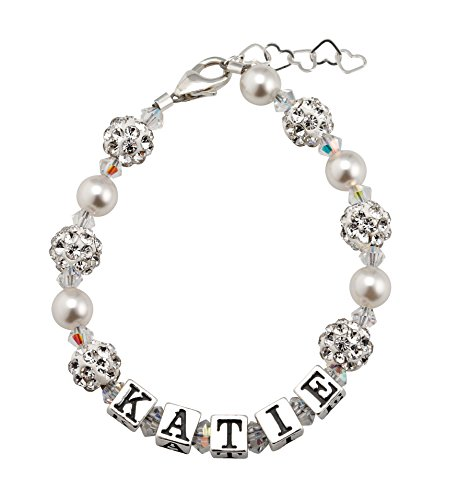 Custom Name Personalized Sterling Silver with White Crystal and Simulated Pearls Infant Bracelet (Personalized Sterling Silver Crystal)