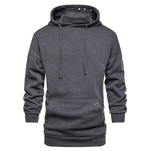 Jacket Sideline Heavyweight Nfl - iLXHD Men Long Sleeve Autum Winter Solid Colors Hooded Sweatshirt Pocket Outwear Tops Blouse Dark Gray