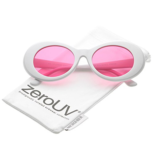 aeca919cb5 zeroUV - Bold Retro Oval Mod Thick Frame White Sunglasses Clout Goggles  with Round Colored Lens