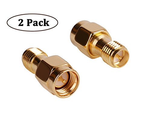 HIGHFINE SMA Male Plug (Pin) to RP-SMA Female (Pin) Coupling Nut Connector Adapter for Wi-Fi Antenna / Signal Booster / Repeaters / Radio / RF Coaxial Coax / Extension Cable / FPV Drone (Pack of 2) (Coax Extension Adapter)