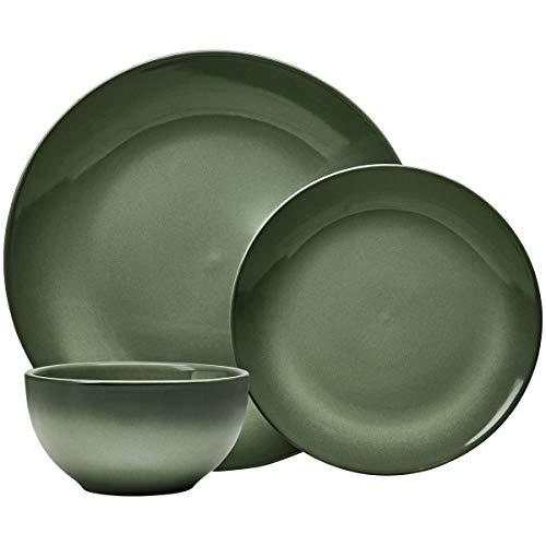 Everyday Glaze Stoneware Dinnerware Set, Olive Green 12 Piece Service for 4 (Best Everyday Dishes)