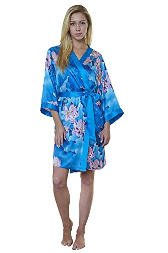 Dynasty Robes 100% Silk, Women's Printed Short Robe with Kimono Collar-Lotus (Luxury Dynasty Silk)