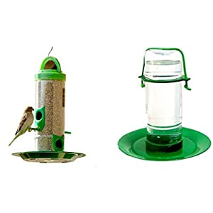 Amijivdaya Transparent, Green Medium Bird and Water Feeder Combo