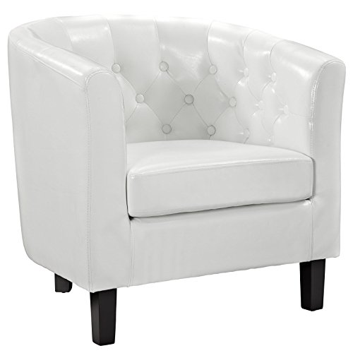 Modway Prospect Upholstered Contemporary Modern Armchair In White Faux - In Chesterfield Outlet