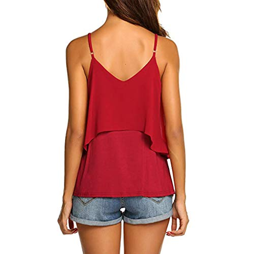 2019 Women Sexy V Neck Sleeveless Camis Summer Tank Tops Patchwork Casual Blouses (Red, XL) by Tanlo (Image #5)