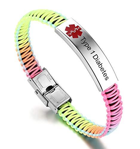 JF.JEWELRY Type 1 Diabetes Medical ID Alert Bracelet for Women Rainbow Nylon Braid Bracelet -