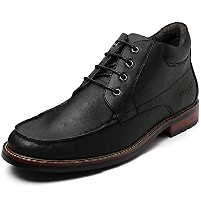 ZRIANG Men's Motorcycle Leather Lined Oxford Dress Boots(7 M US,Black-1)