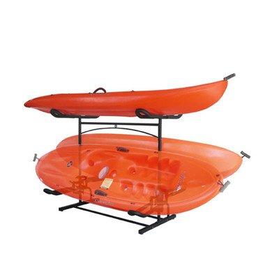 UPC 832085002262, Stoneman Sports KC-322 Sparehand Laguna Plus Freestanding Double Kayak or Canoe Storage Rack with Flat Top Cradle, Single Sided, Black Finish