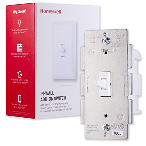 Honeywell Add-On In-Wall Toggle Switch only for Honeywell Z-Wave Smart Lighting Controls | NOT A STANDALONE SWITCH |for 3 4 & 5-Way Multi-Location Installations, 39356