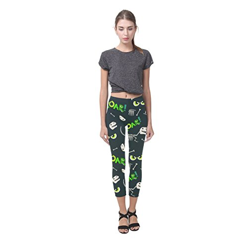 InterestPrint Dinosaur&Scary Eyes Custom Stretchy Capri Leggings Skinny Pants for Yoga Running Pilates Gym 4XL -