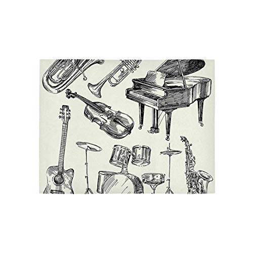 Jazz Music Utility Area Rug,Collection of Musical Instruments Sketch Style Art with Trumpet Piano Guitar for Home,31